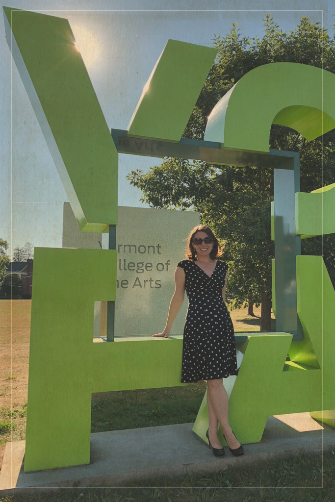 Stephani in front of Vermont College of Fine Arts (VCFA)