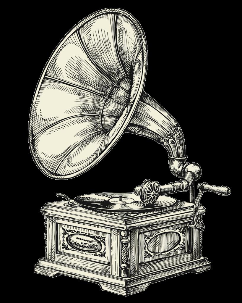 Woodcut Gramophone illustration